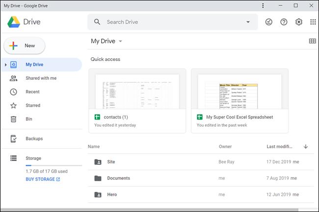 Die Google Drive PWA-Oberfläche.