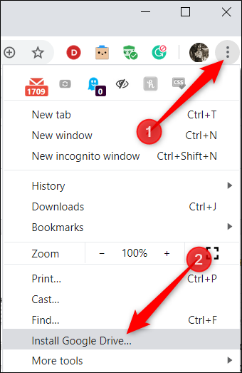 """Klicken Sie auf die drei Punkte in der oberen rechten Ecke und dann auf """"Installieren Sie Google Drive."""""""