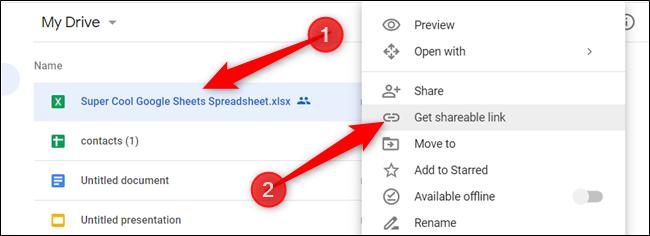 """Klicken Sie mit der rechten Maustaste auf die Datei, die Sie freigeben möchten, und klicken Sie dann auf """"Get Shareable Link."""""""