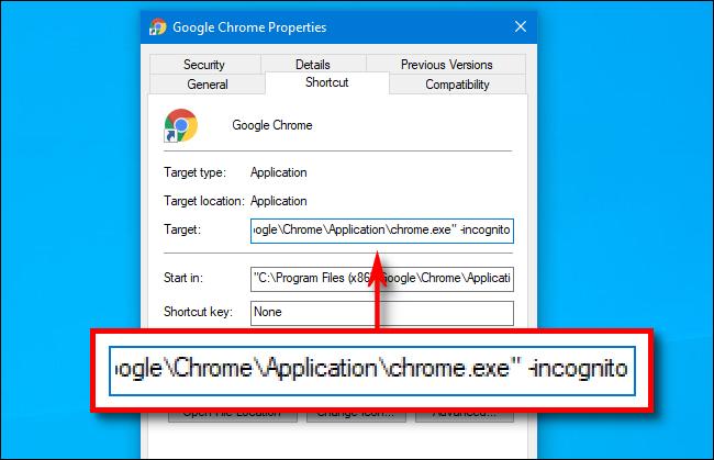"""""""  -inkognito"""" am Ende des Pfads im Feld Ziel für eine Google Chrome-Verknüpfung."""