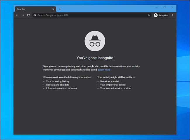 Inkognito-Modus in Google Chrome unter Windows 10.