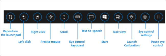 Eye Control-Oberfläche in Windows 10