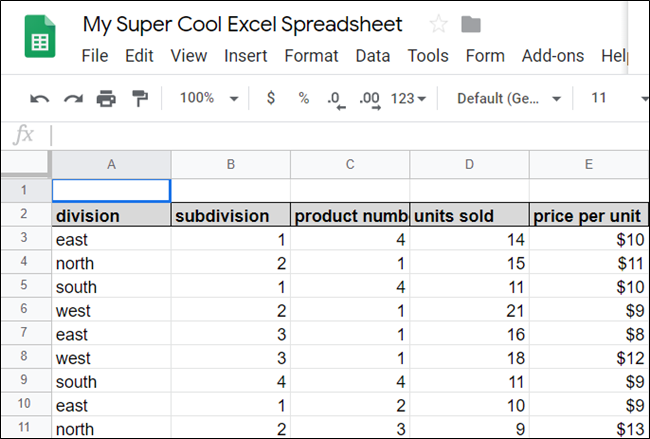 Eine Tabelle in Google Sheets.