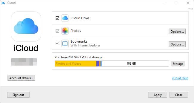 """Das """"iCloud"""" Systemsteuerung unter Windows 10."""