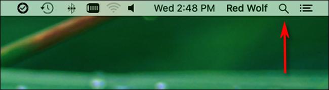 Klicken Sie auf das Lupensymbol in der Menüleiste, um die Spotlight-Suche zu starten.