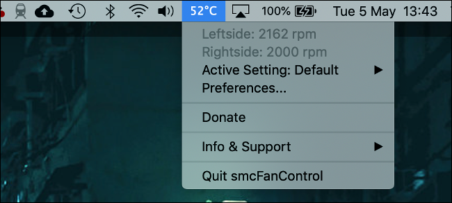 smcFanControl für macOS mit Temperaturanzeige