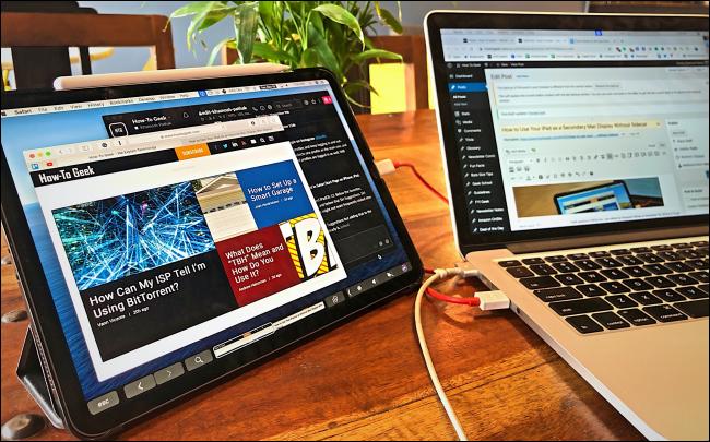 Duett mit einem iPad, das als zweites Display mit einem MacBook verbunden ist.