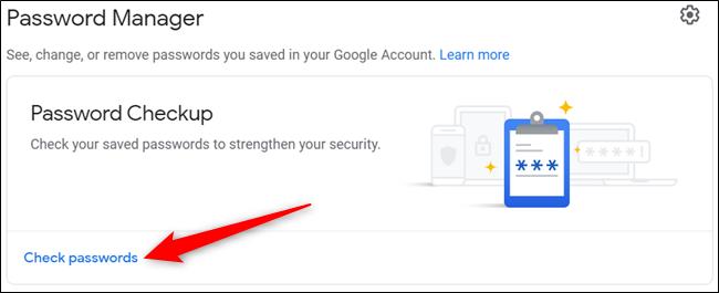 """Klicken """"Überprüfen Sie die Passwörter"""" von der Hauptseite."""