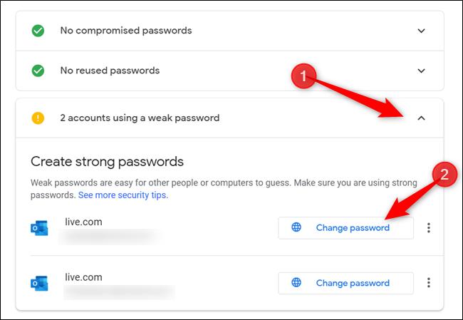 """Wenn Warnungen / Warnungen vorhanden sind, klicken Sie auf den Abschnitt mit der Warnung und klicken Sie auf """"Ändere das Passwort"""" um zur Kontoverwaltungsseite für diese Website weiterzuleiten."""