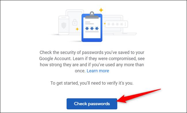 """Klicken """"Überprüfen Sie die Passwörter"""" erneut, um den Vorgang zu starten."""
