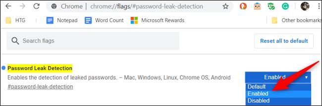 """Um das Flag zu aktivieren, klicken Sie auf das Dropdown-Feld für """"Kennwortlecksuche"""" und wähle """"aktiviert"""" von der Liste."""