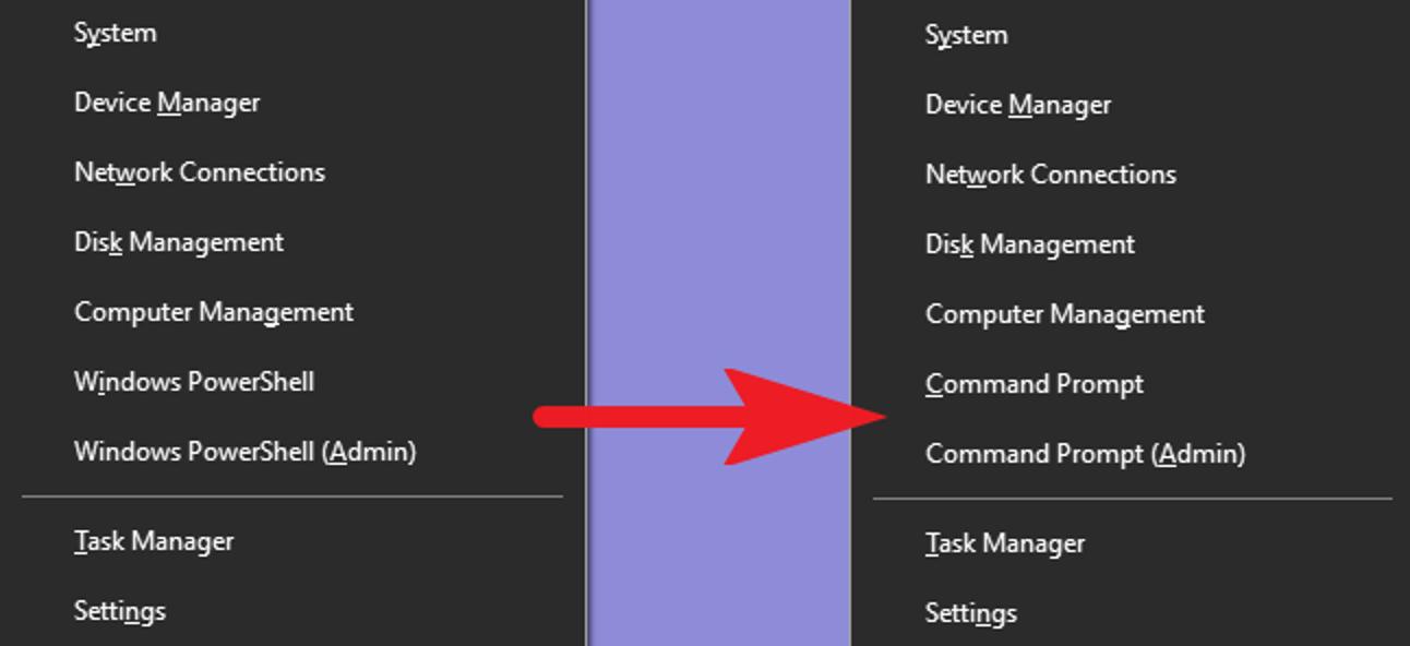 So setzen Sie die Eingabeaufforderung wieder in das Windows + X-Hauptbenutzermenü ein