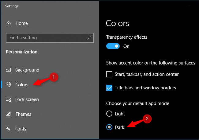 Aktivieren des systemweiten dunklen App-Modus unter Windows 10