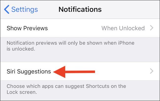 Klicken Sie auf Siri-Vorschläge