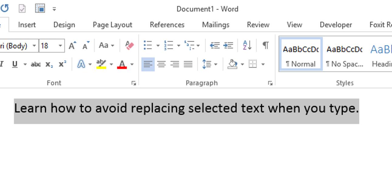 So vermeiden Sie das Ersetzen von ausgewähltem Text, wenn Sie Word 2013 eingeben