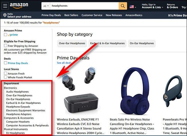 Wählen Sie in der Amazon.com-Seitenleiste eine Abteilung aus