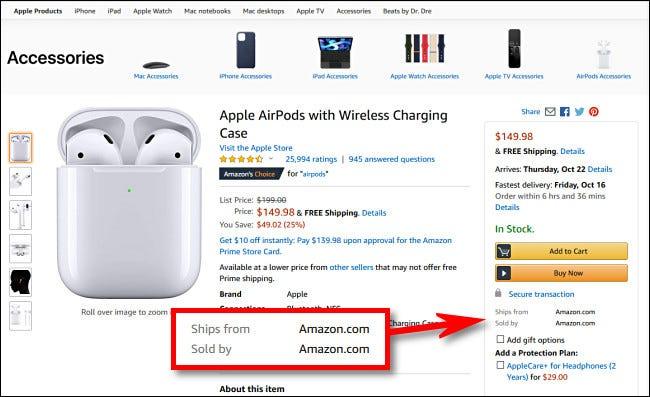 """Suchen Sie in Produkten auf Amazon.com nach Artikeln, in denen steht """"Verkauft von Amazon.com"""""""