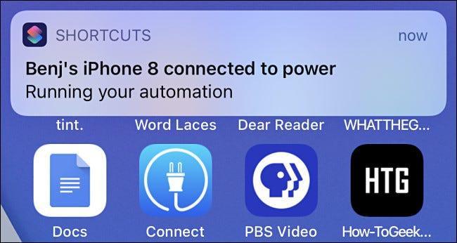 Eine Automatisierungsbenachrichtigung in iOS 14.