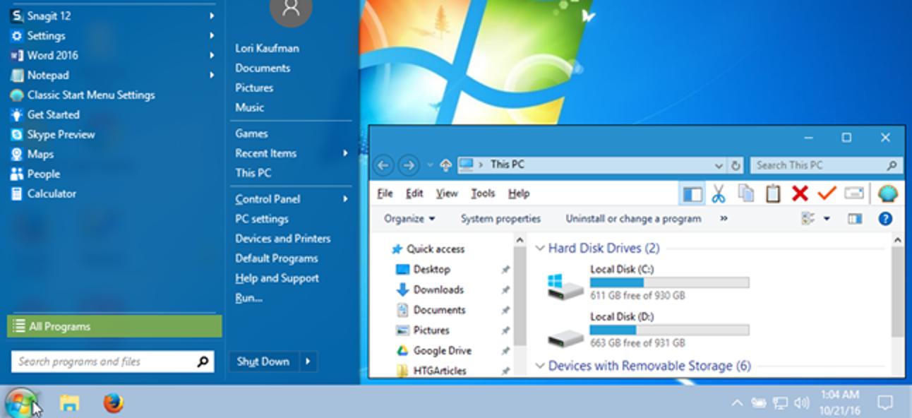 So lassen Sie Windows 10 mehr wie Windows 7 aussehen und sich so verhalten