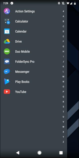 Bildschirm mit App- und Widget-Schubladen
