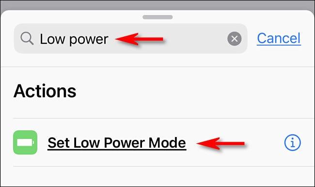 """Suchen Sie in Apple Shortcuts auf dem iPhone nach """"geringer Strom,"""" Tippen Sie dann auf """"Stellen Sie den Energiesparmodus ein."""""""