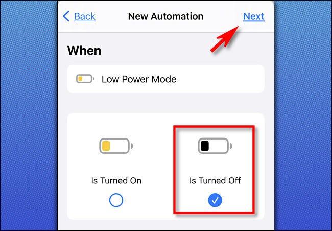 """Wählen Sie unter Apple Shortcuts auf dem iPhone die Option aus """"Ist ausgeschaltet,"""" Tippen Sie dann auf """"Nächster."""""""