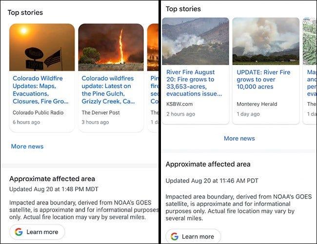 Google Maps mit Geschichten zu den Bränden