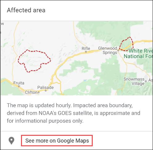 Google Waldbrandkarte