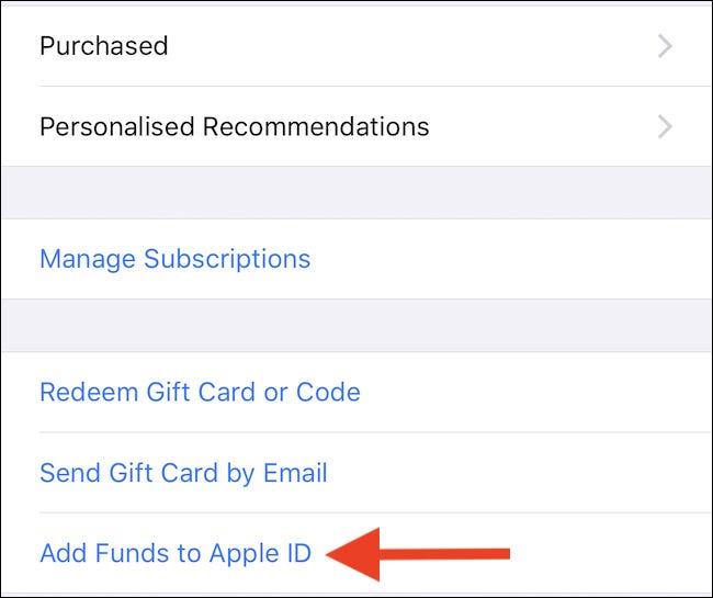 Tippen Sie auf Geld zur Apple ID hinzufügen