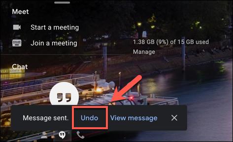 """Drücken Sie """"Rückgängig machen"""" um eine gesendete Google Mail-E-Mail unten links im Google Mail-Webfenster abzurufen"""