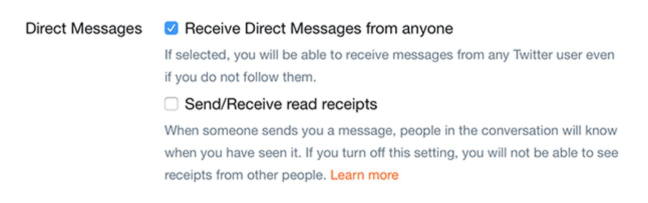 Zulassen (oder Verbieten) von Direktnachrichten von allen auf Twitter