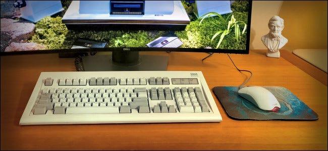 Die IBM Model M-Tastatur sitzt auf einem Schreibtisch.