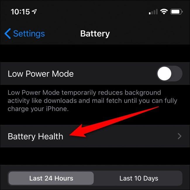 Apple iPhone Klicken Sie auf Batteriezustand