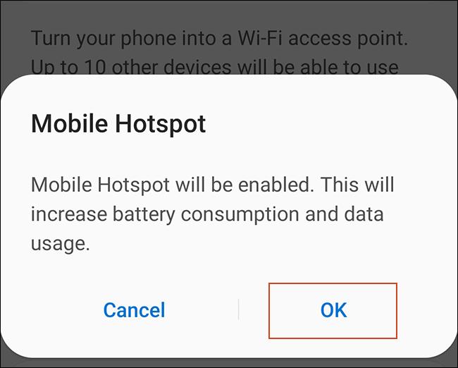 """Zapfhahn """"OK"""" um die Android-Warnung zu akzeptieren."""