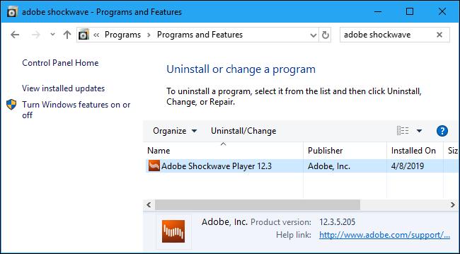 Deinstallation von Adobe Shockwave Player in der Systemsteuerung
