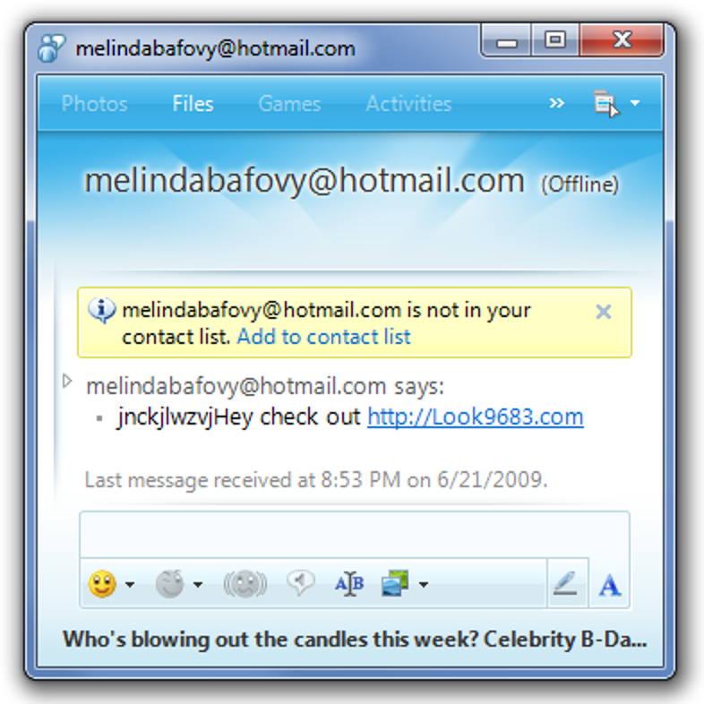 Beenden von schädlichen MSN / Windows Live Messenger-Spammern