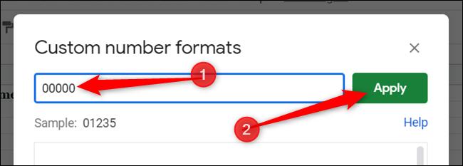 """Geben Sie fünf Nullen in das Textfeld ein und klicken Sie auf """"Anwenden"""" um das benutzerdefinierte Format zu erstellen."""