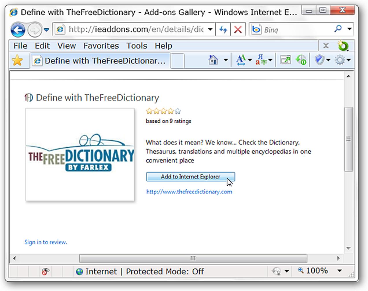 Suchen Sie schnell nach Wortdefinitionen mit TheFreeDictionary für IE 8