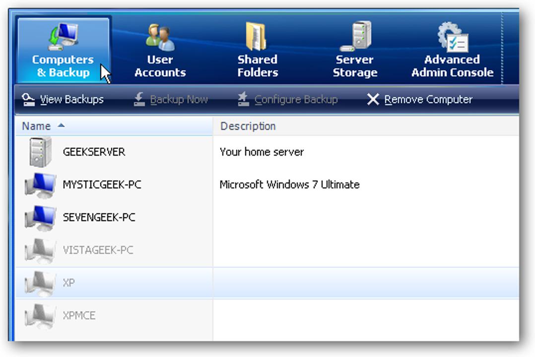 Entfernen Sie einen Netzwerkcomputer von Windows Home Server
