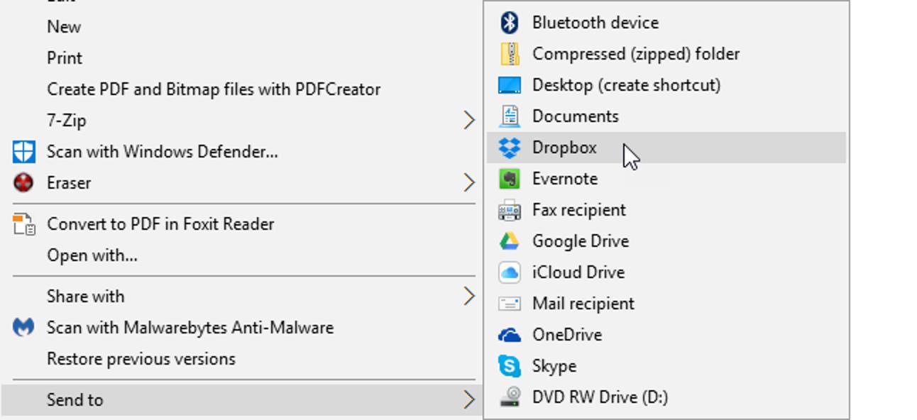 """Hinzufügen von Dropbox (oder anderen Cloud-Diensten) zum Menü """"Senden an"""" in Windows"""