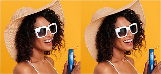 Links ein klares, helles, unbearbeitetes Bild einer Frau vor einem gelben Hintergrund.  Rechts eine verschwommene, pixelige Version desselben Bildes nach Interpolation des nächsten Nachbarn.