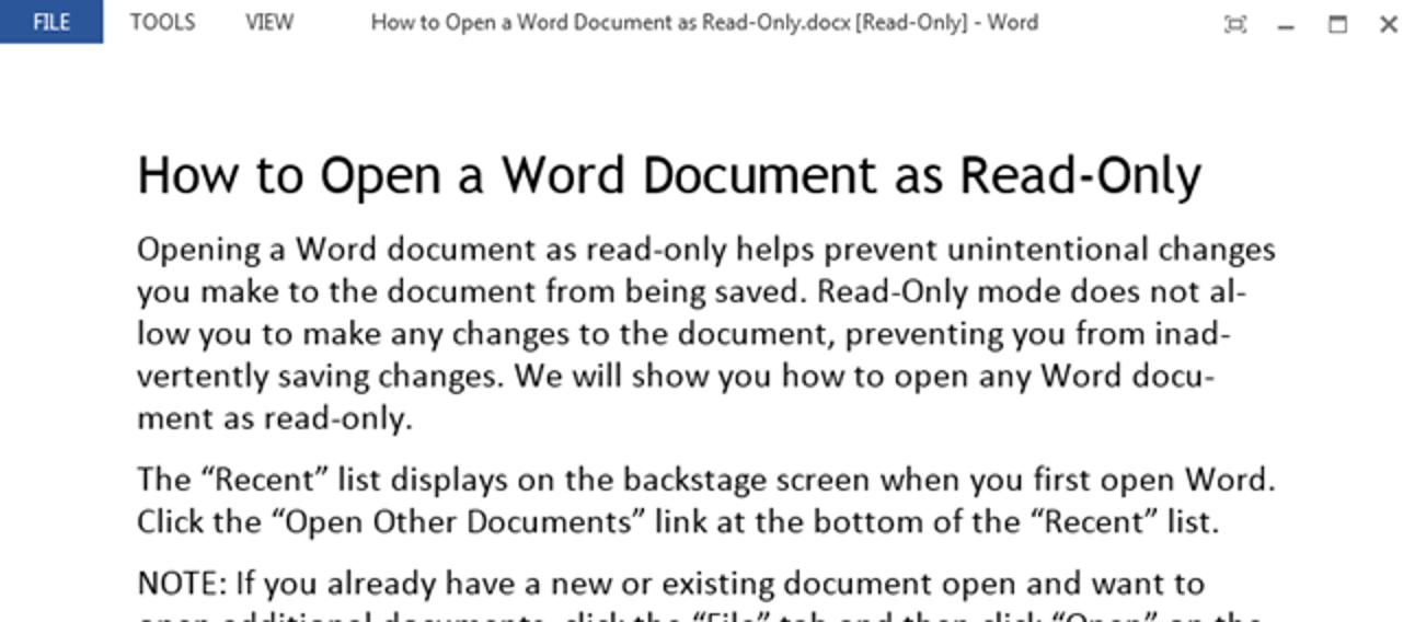 So öffnen Sie ein Word-Dokument als schreibgeschützt