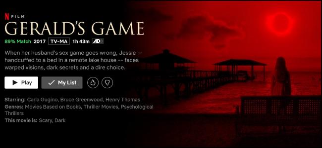 """Das """"Geralds Spiel"""" Bildschirm auf Netflix ansehen."""