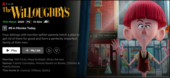 """""""Die Willoughbys"""" Seite auf Netflix ansehen."""
