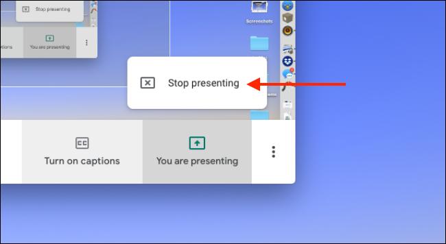 """Klicken """"Hör auf zu präsentieren"""" um die Freigabe Ihres Bildschirms zu beenden."""