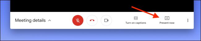 """Klicken """"Jetzt präsentieren"""" in Google Meet, um Ihren Bildschirm oder Ihr Fenster freizugeben."""