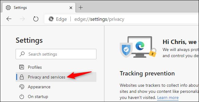 Auswählen der Einstellungen für Datenschutz und Dienste im Chromium-basierten Edge-Browser.