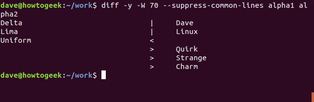 Ausgabe des Befehls diff mit der Option --suppress-common-lines