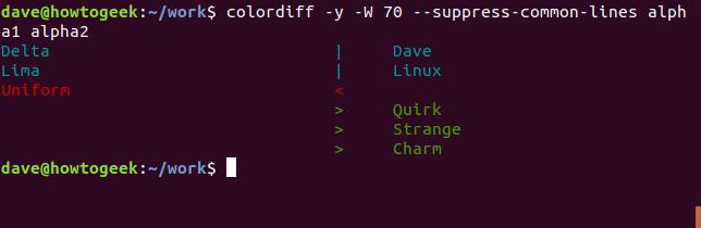 Ausgabe des Befehls colordiff mit der Option --suppress-common-lines