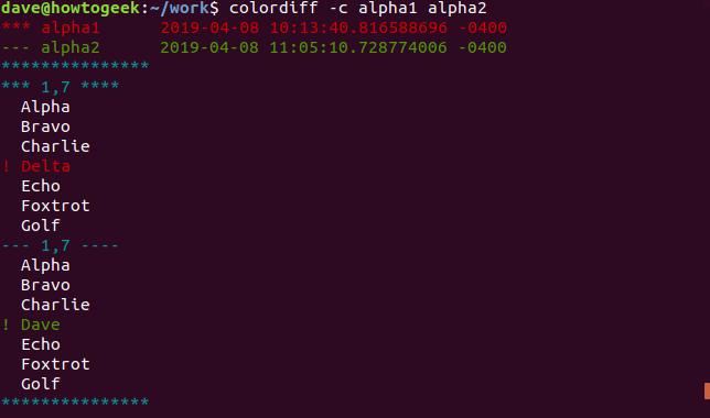 Ausgabe von colordiff mit der Option -c